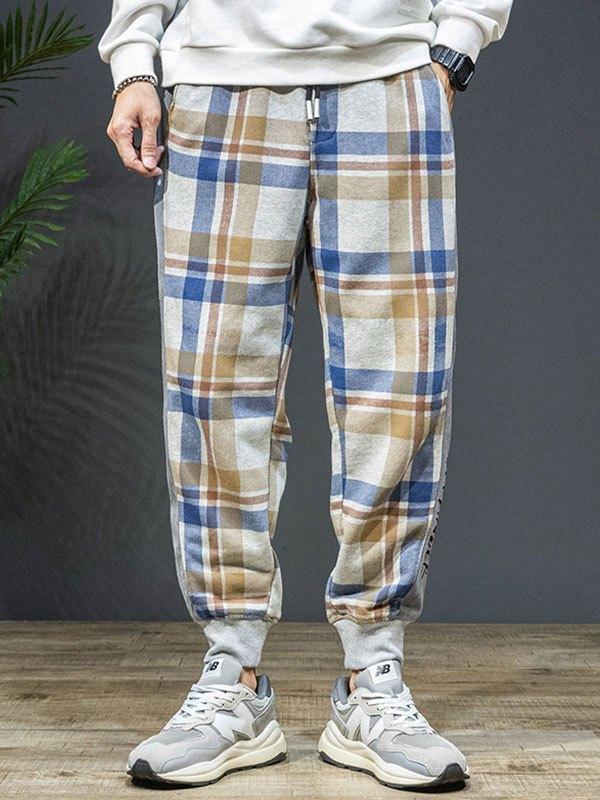 Men's Checkered Print Jogger Pants - Gray 2XL