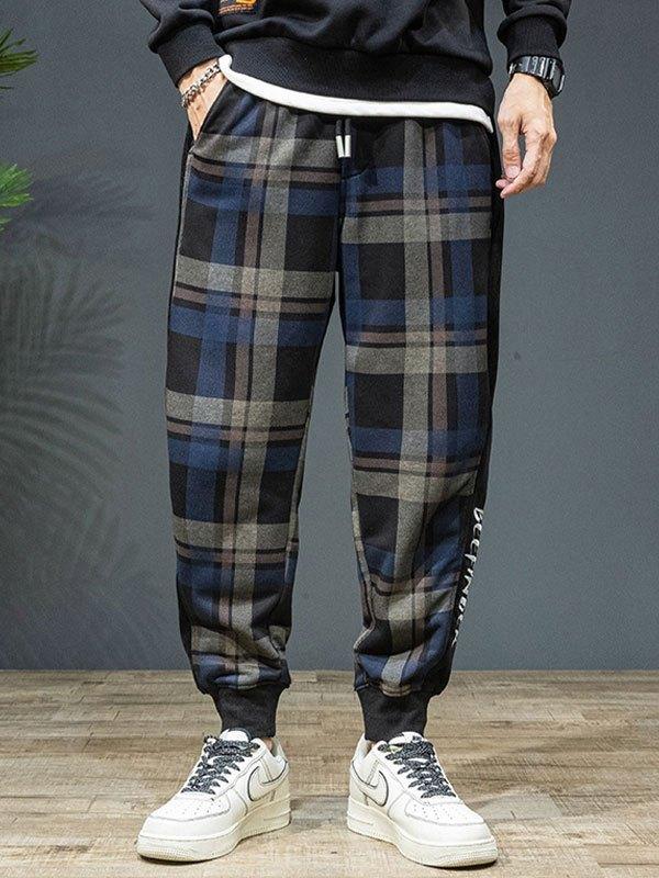 Men's Checkered Print Jogger Pants - Black M