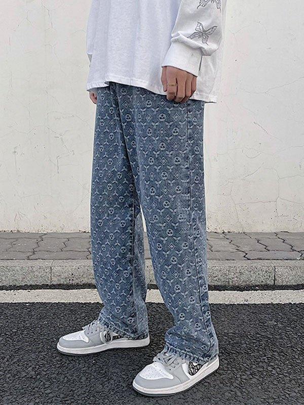 Men's Monogram Straight Leg Jeans - Blue M