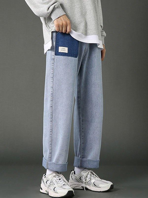 Men's Patched Design Straight Leg Jeans - Blue M