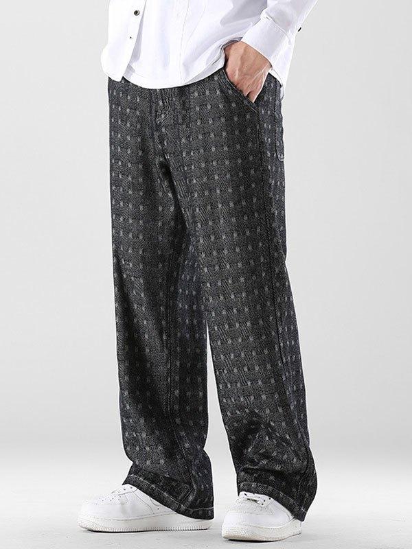 Men's Jacquard Straight Leg Jeans - Black L