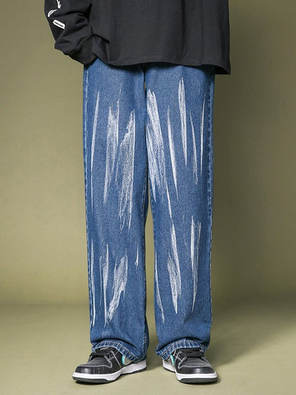 Men's Splashed Straight Leg Jeans - Blue M
