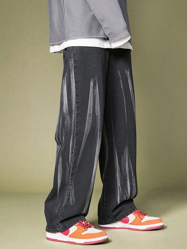 Men's Splashed Straight Leg Jeans - Black 2XL