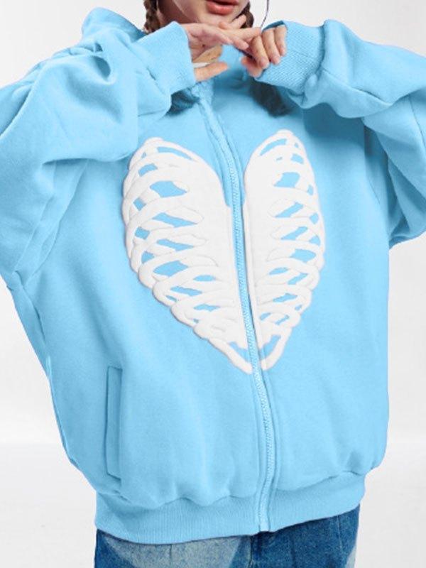 Skull Heart Graphic Zipper Hoodie - Blue L