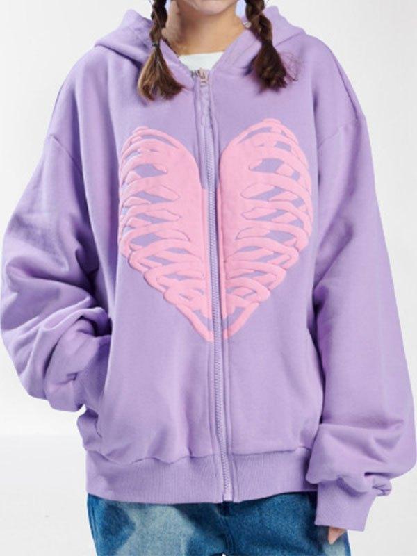 Skull Heart Graphic Zipper Hoodie - Purple M