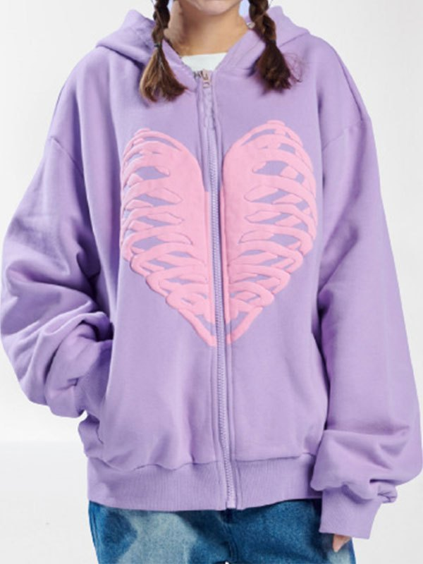 Skull Heart Graphic Zipper Hoodie - Purple XL