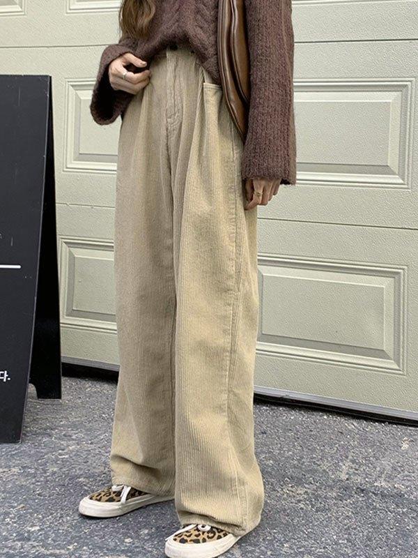 Vintage Corduroy Straight Leg Pants - Apricot S