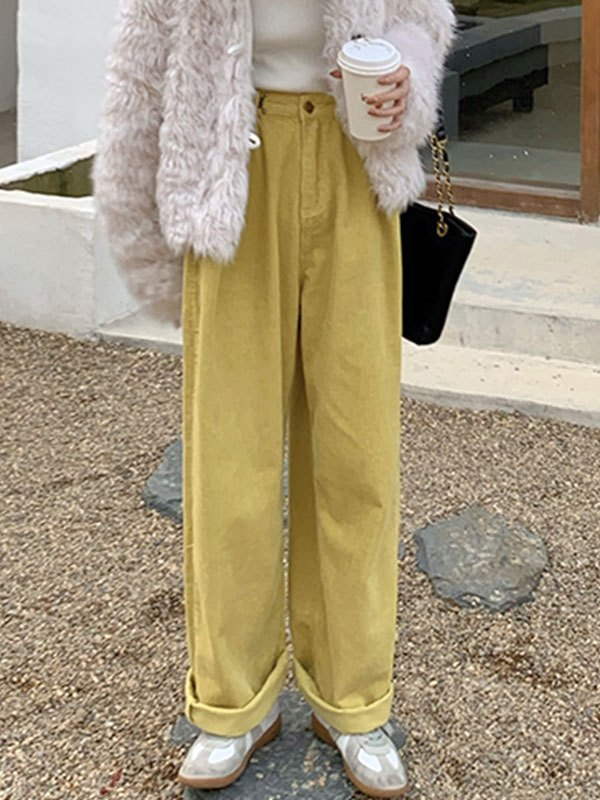 Vintage Corduroy Straight Leg Pants - Yellow S