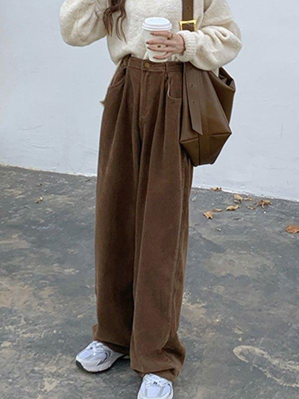 Vintage Corduroy Straight Leg Pants - Brown S