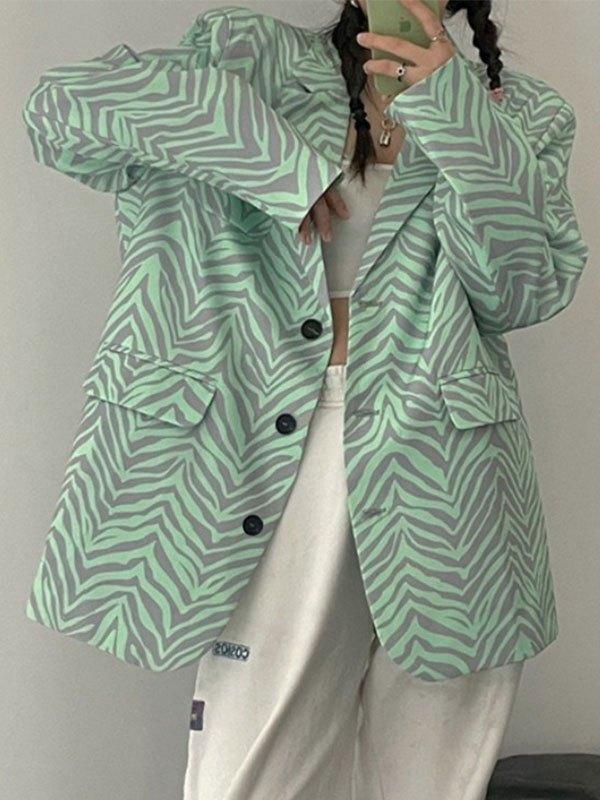 Zebra Stripe Oversized Blazer - Sorbet Lime Green M
