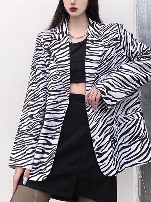 Oversized Zebra Stripe Button Blazer - Black L