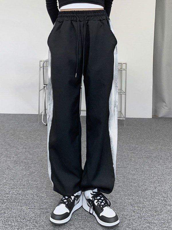 Contrast Striped Jogger Pants - Black M