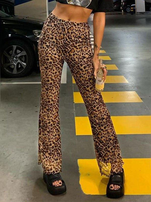 Leopard Mesh Flare Leg Pants - Leopard Print L