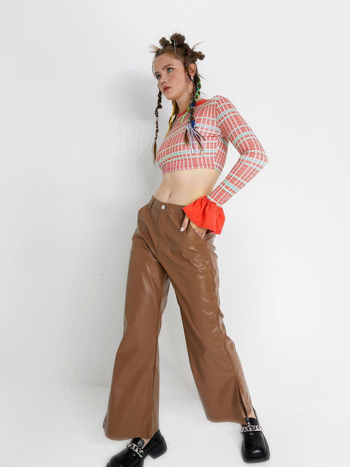 Pu Leather High Waist Bootcut Pants - Brown L