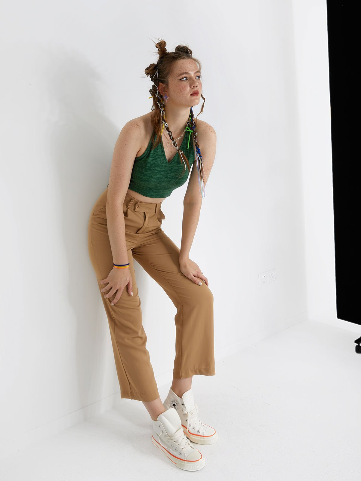 Basic High Waisted Tailored Pants - Apricot S