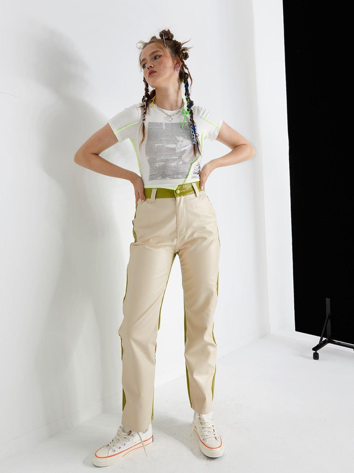 Side Waving Two-Tone PU Leather Pants - Green M