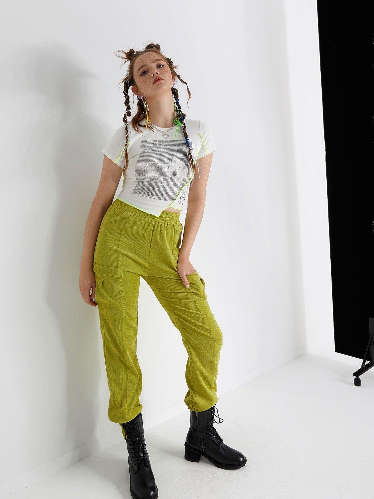 Corduroy High Waist Cargo Pants - Green S