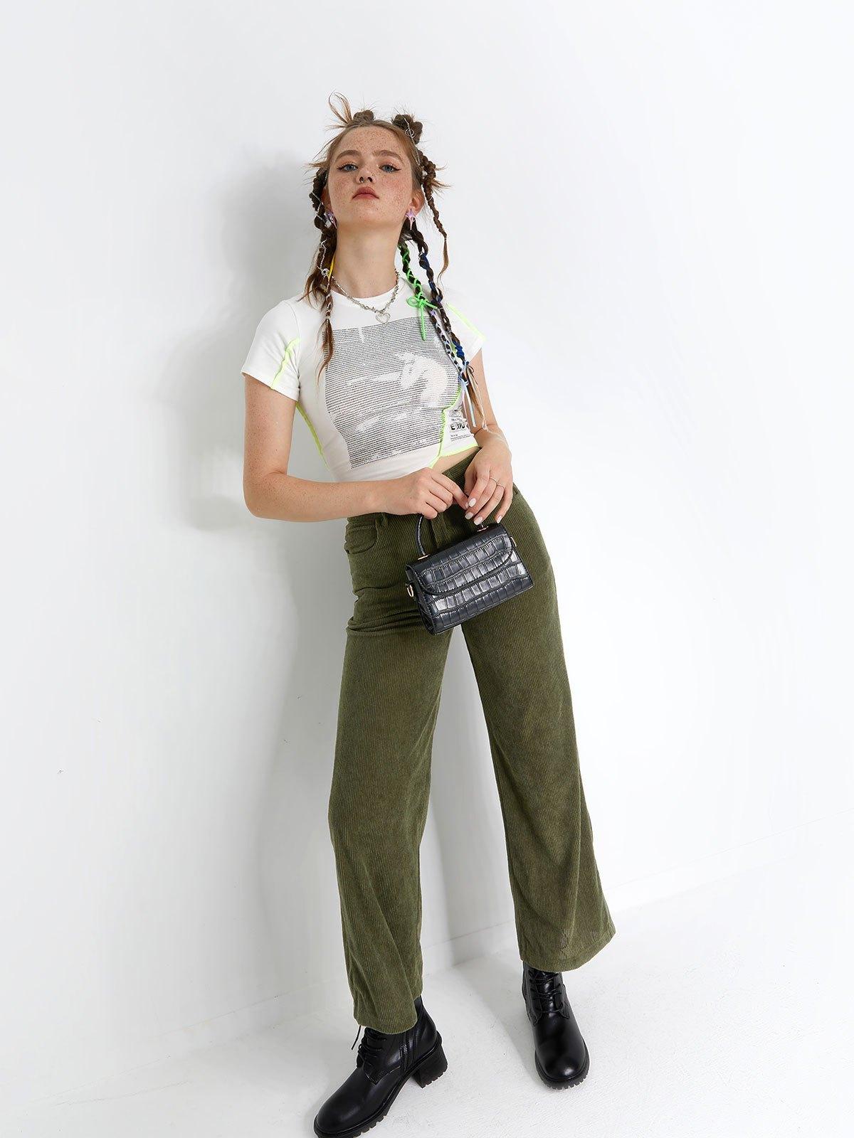 Vintage Corduroy Baggy Pants - Green M