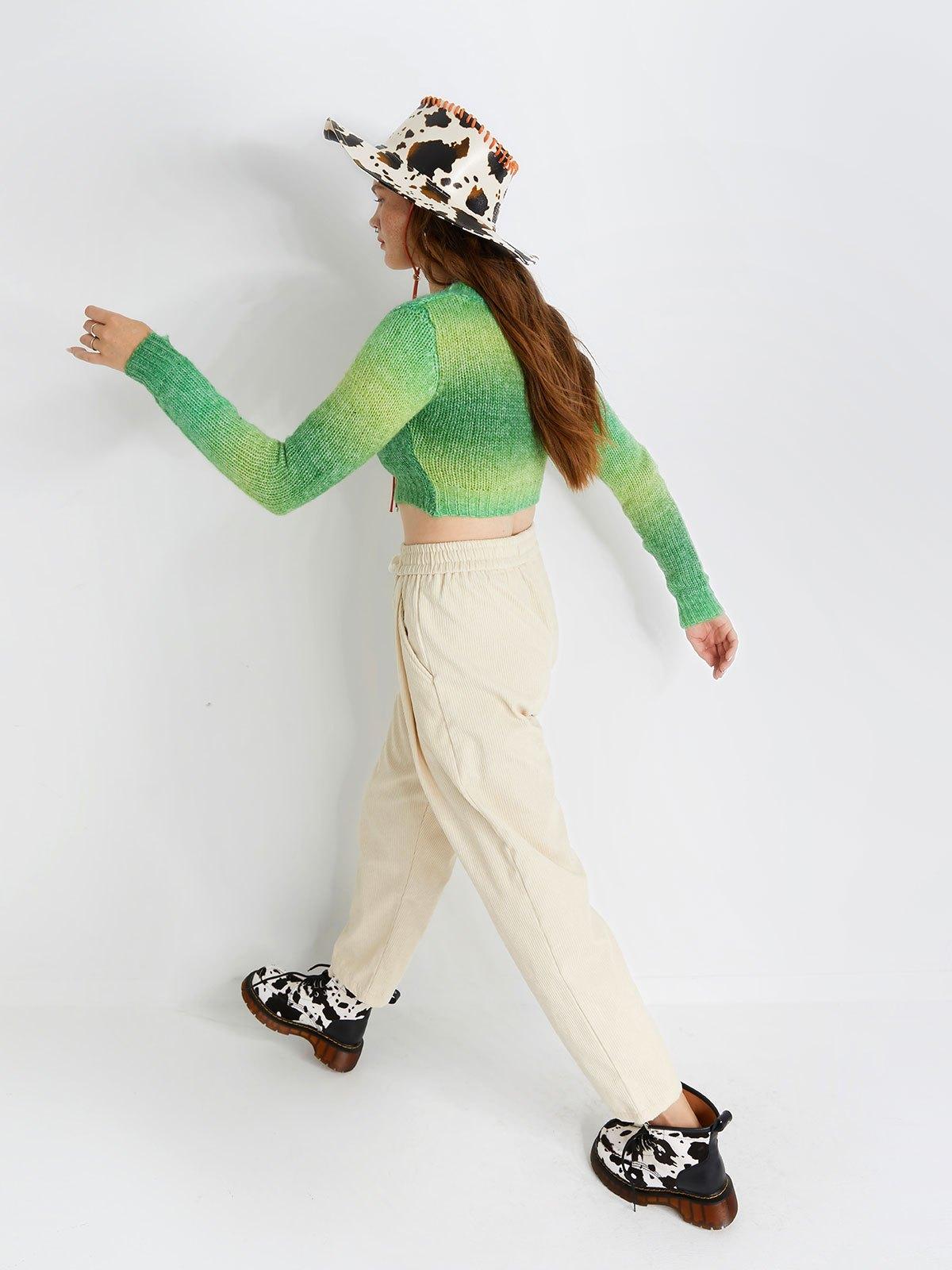 Lace Up Corduroy Jogger Pants - Apricot S