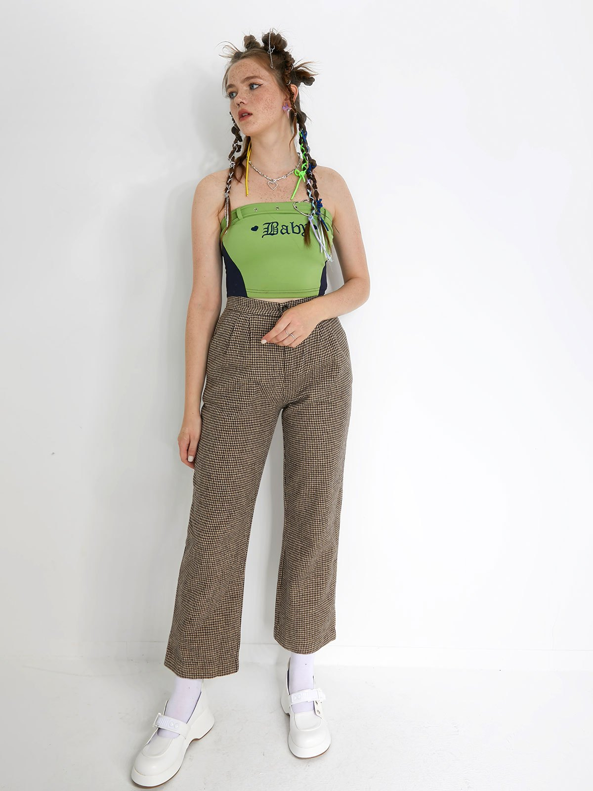 Letter Embroidery Crop Bandeau Top - Green L