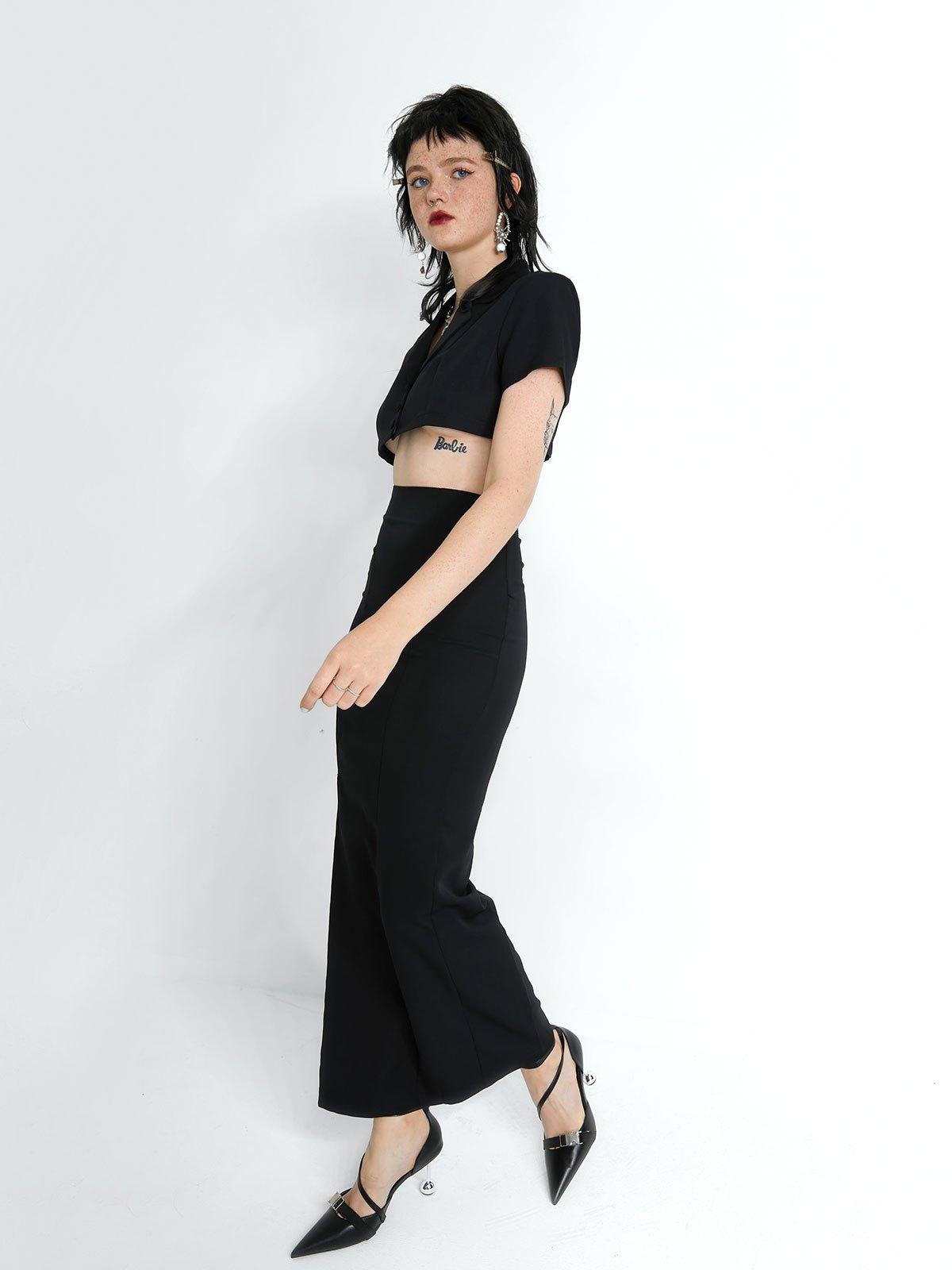 Shoulder Padded Short Sleeve Set - Black S