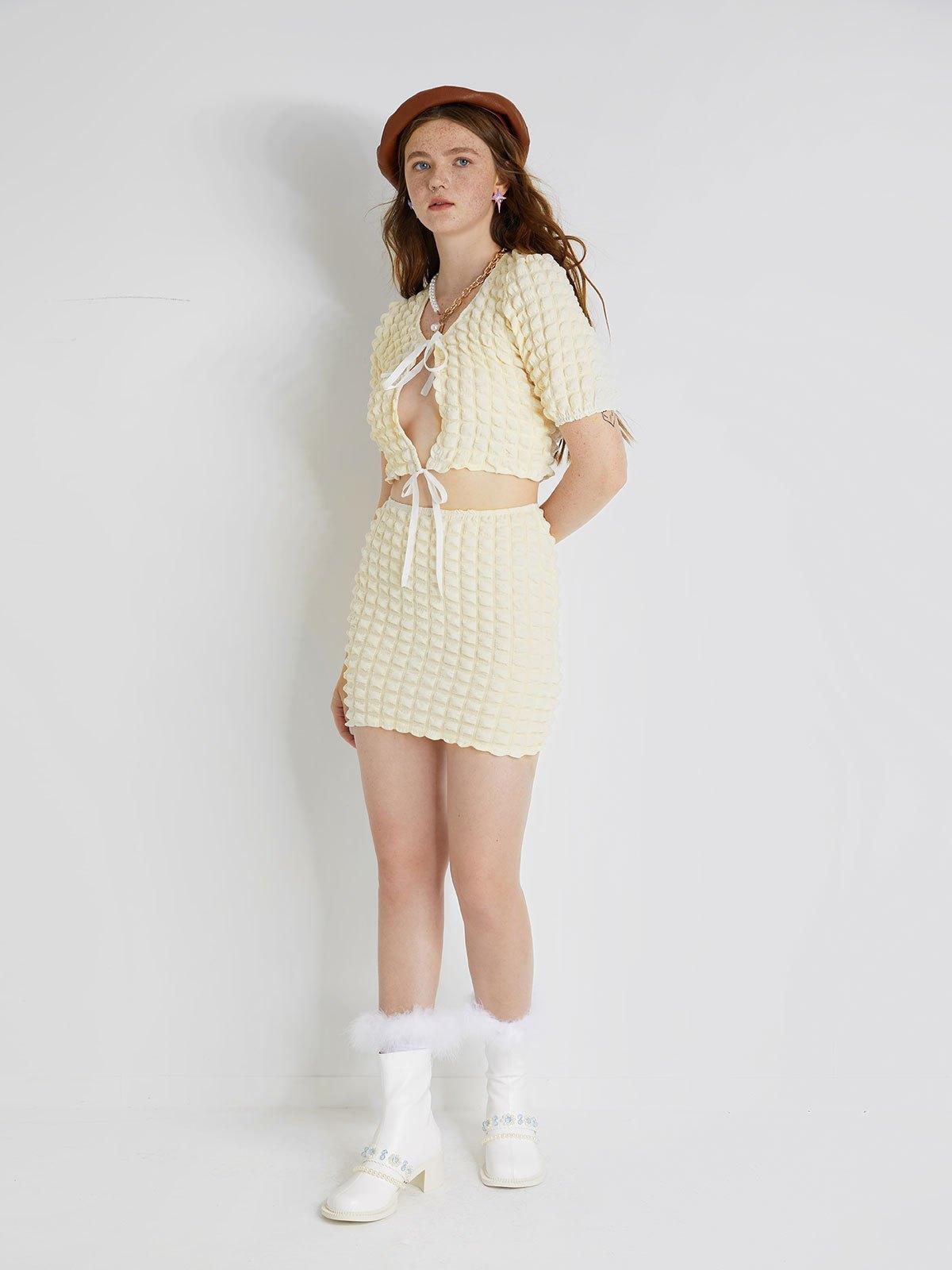 Lace Up Jacquard Short Sleeve Set - Apricot M