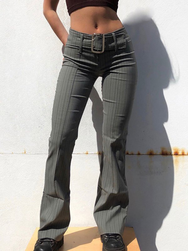 Pinstripe Belted Flare Leg Pants - Gray S