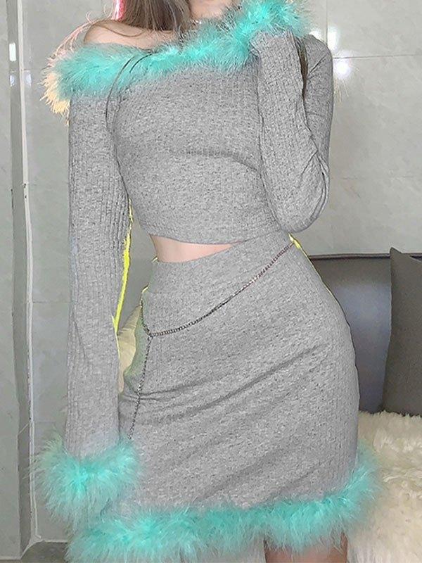 Faux Fur Trim Long Sleeve Set - Gray S