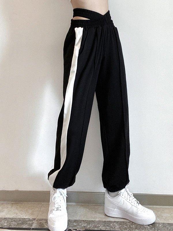 Cutout Criss Cross Jogger Pants - Black L