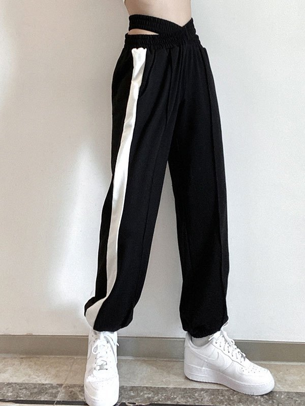 Cutout Criss Cross Jogger Pants - Black S
