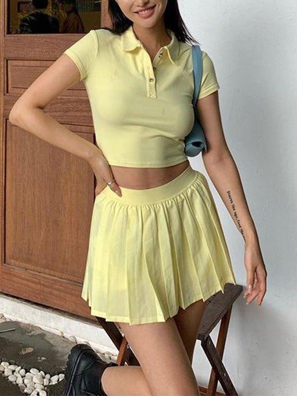 Knit Pleated Mini Skirt Set - Yellow L