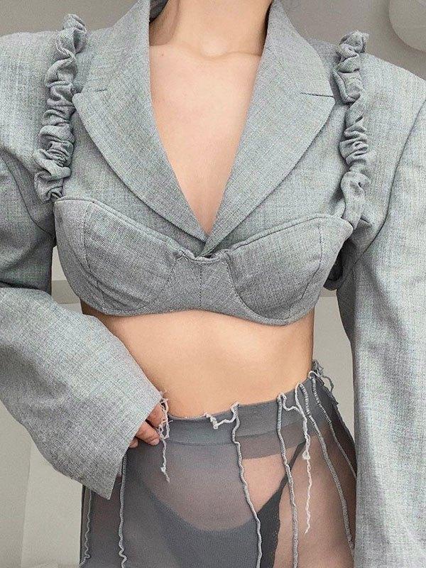 Padded Shoulder Crop Blazer Set - Gray M