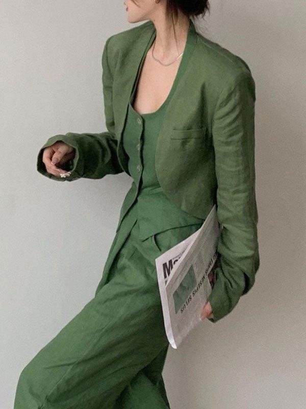 Cotton Linen Cropped Blazer - Green M