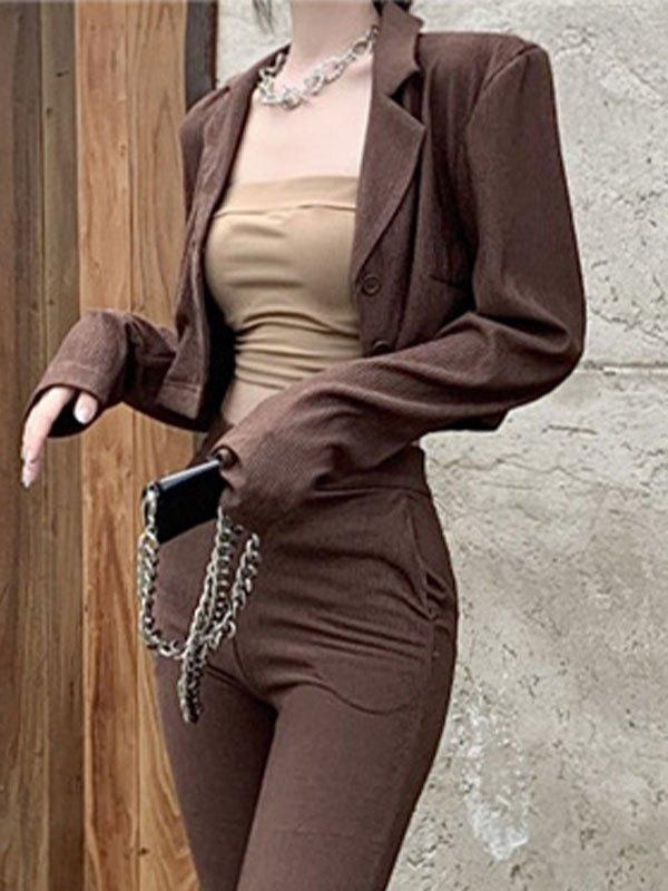 Vintage Buttoned Crop Blazer - Brown S