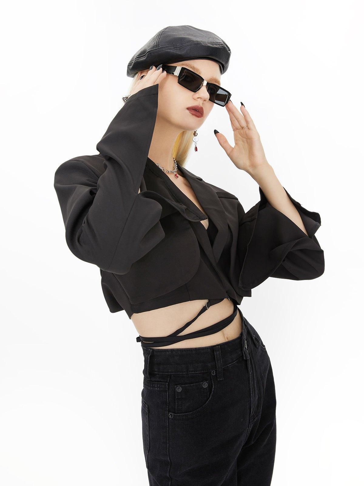 Wrap Over Layered Crop Blazer - Black S