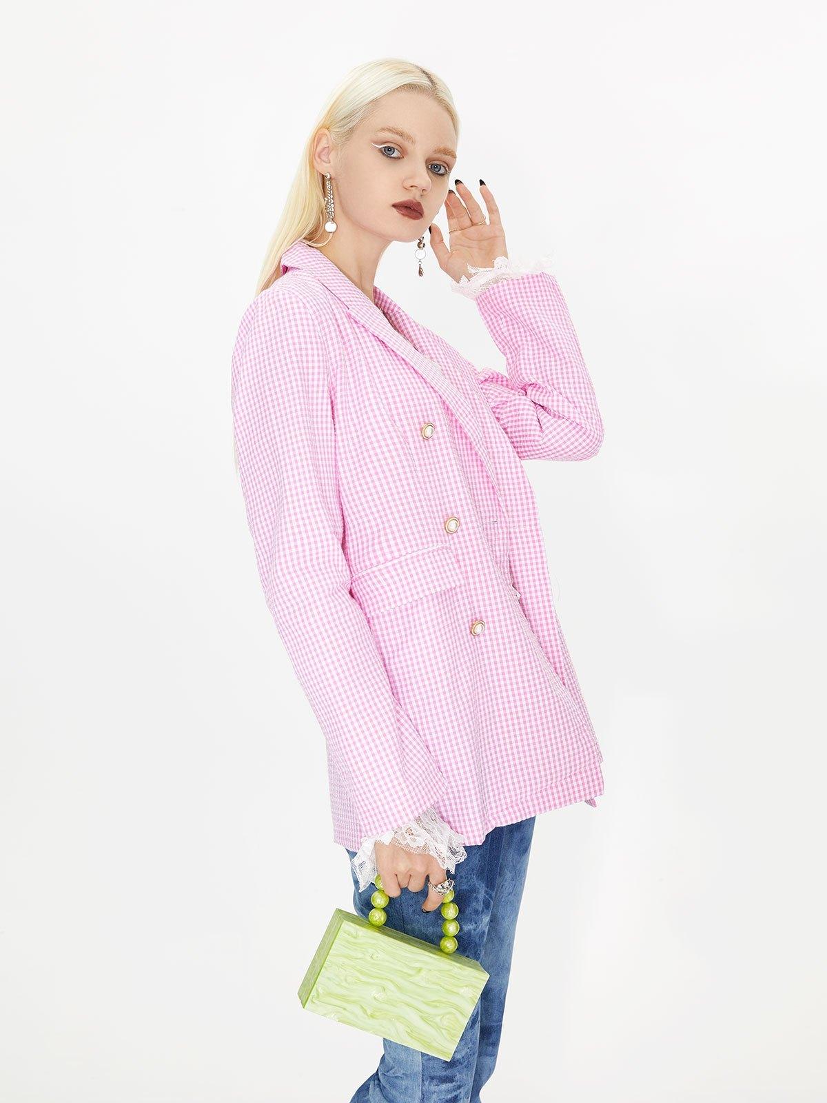 Gingham Checkered Longline Blazer - Pink M