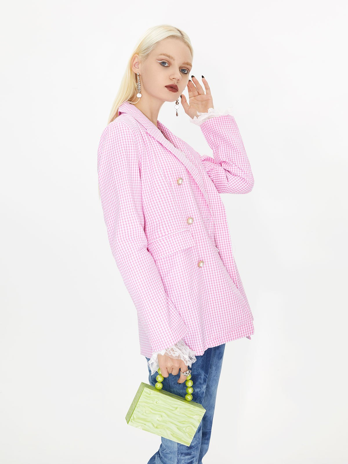 Gingham Checkered Longline Blazer - Pink L