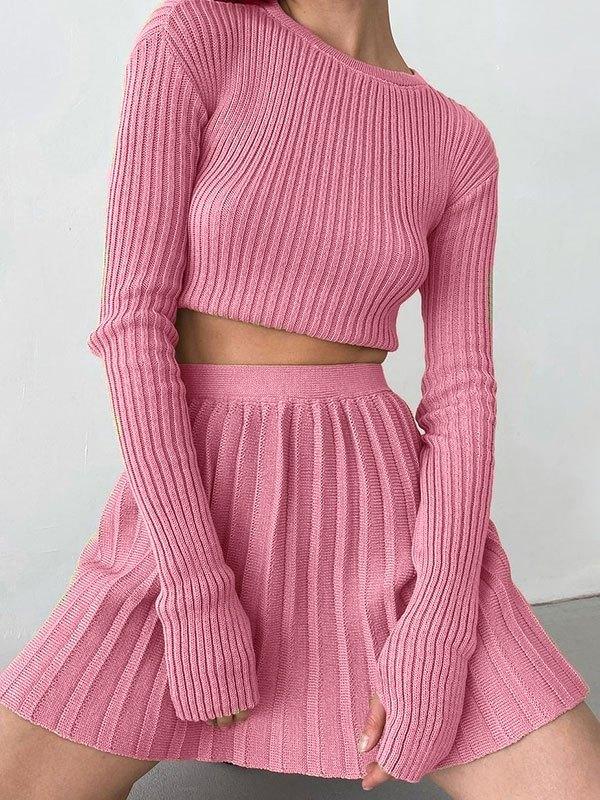 Rib Knit Solid Long Sleeve Set - Pink M