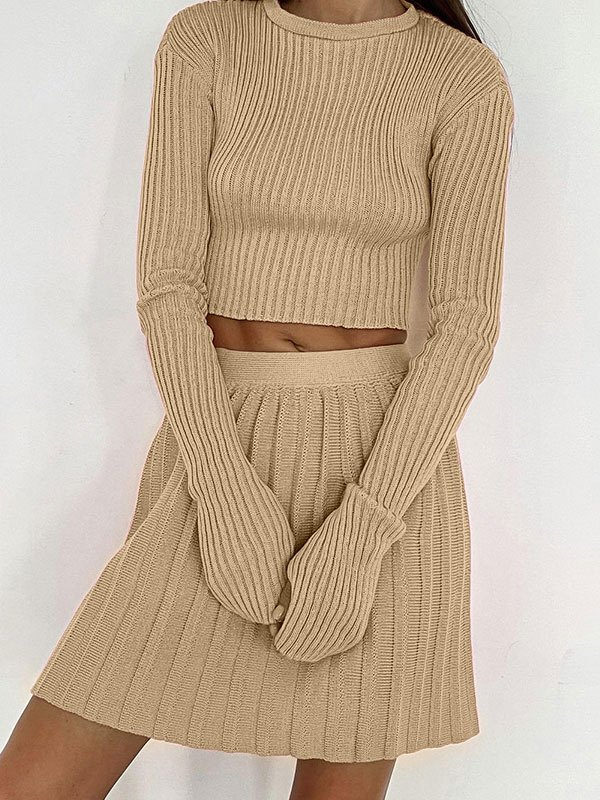 Rib Knit Solid Long Sleeve Set - Apricot L