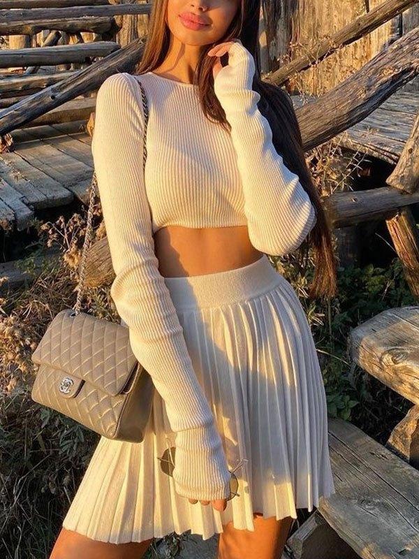 Rib Knit Solid Long Sleeve Set - White S