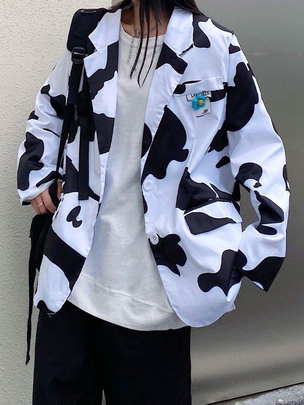 Cow Pattern Buttoned Blazer - White M