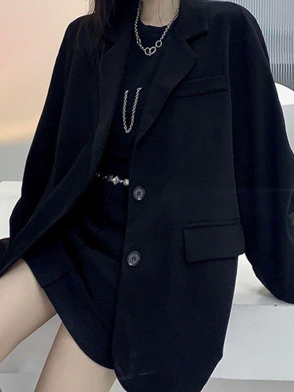 Patchwork Reflective Longline Blazer - Black ONE SIZE