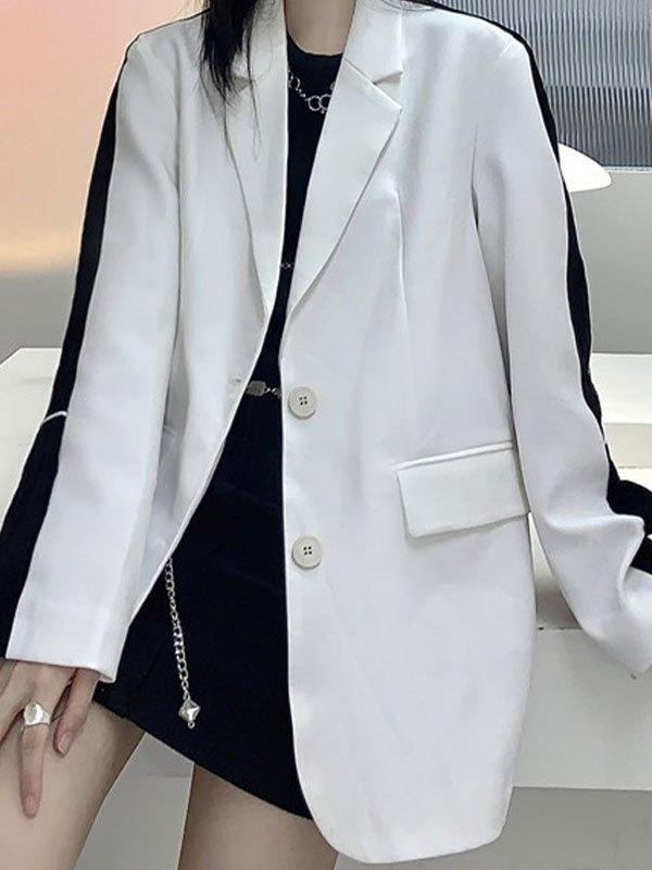 Patchwork Reflective Longline Blazer - White ONE SIZE