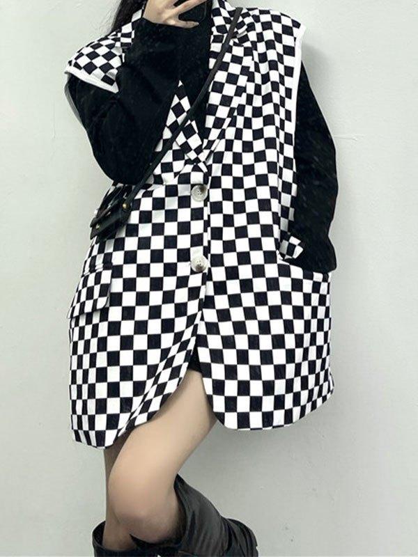Oversize Checkered Sleeveless Blazer - Black L