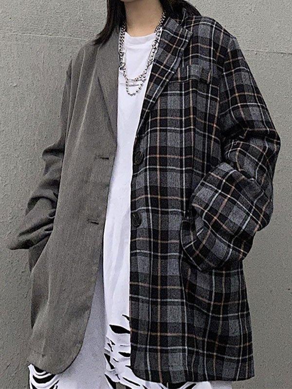 Patchwork Checkered Longline Blazer - Gray M