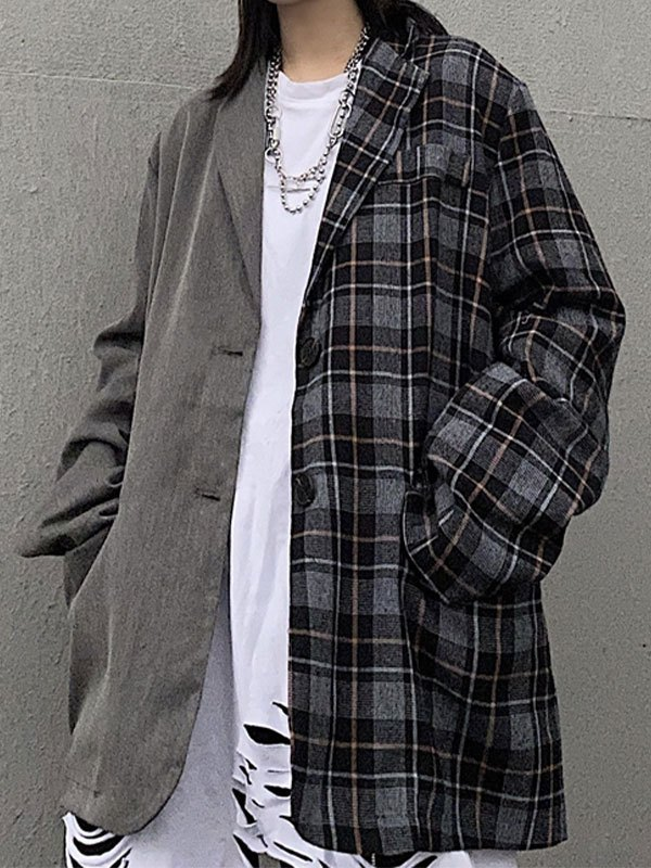 Patchwork Checkered Longline Blazer - Gray L