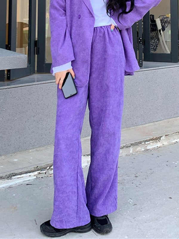 Purple Corduroy Straight Leg Pants - Purple L