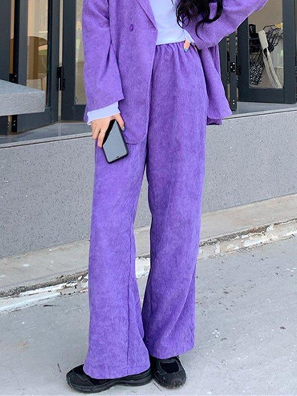 Purple Corduroy Straight Leg Pants - Purple S