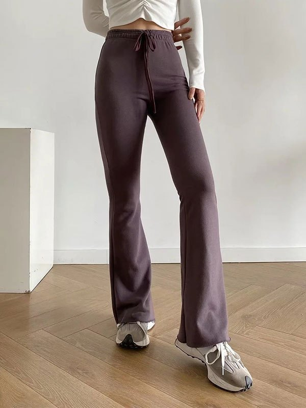 High Waist Stretch Flare Leg Pants - Brown L