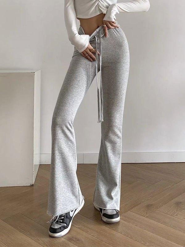 High Waist Stretch Flare Leg Pants - Gray L